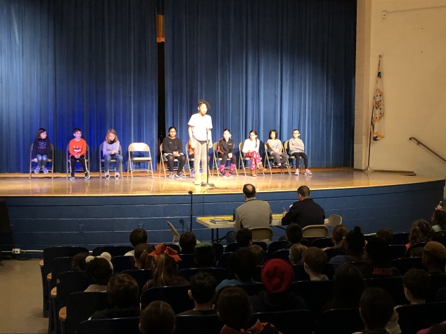 William E. Cottle School 4th graders participated in a grade-wide spelling bee.