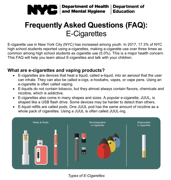 NYC DOE and DOHMH FAQ on the dangers of e-cigarettes and vaping