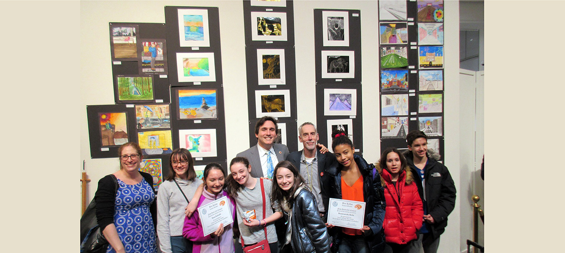 Sotheby's Student Art Contest - Student participants with Principal Getz,  Art Teacher Ms. Mainhart, and Councilman Ben Kallos