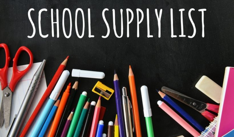 "A generic graphic that says ""School Supply List"" with an underlying picture of basic school supplies."