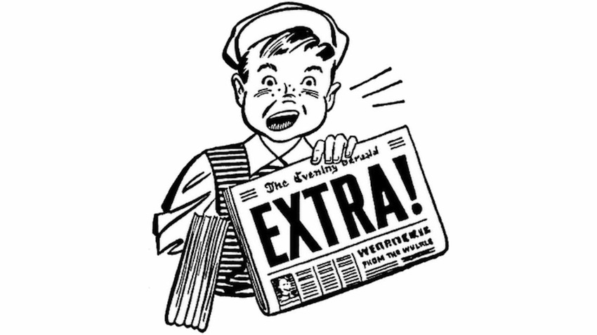 "Cartoon image of an old-style newsboy holding a newspaper with the headline ""EXTRA"""