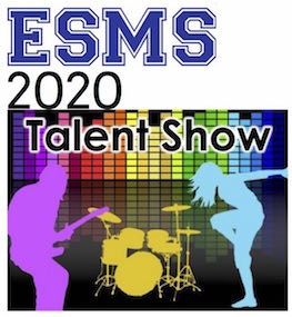 """Shadow images of rock muiscians and instruments with the words """"ESMS 2020 Talent Show"""""""