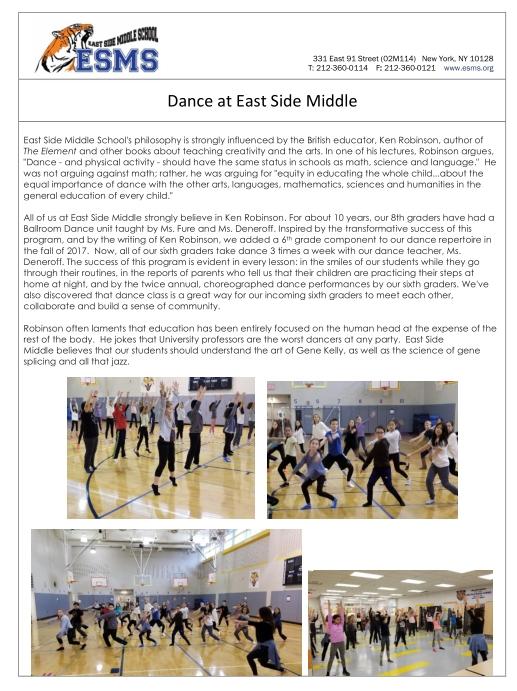 Thumbnail image of PDF highlighting ESMS Dance program