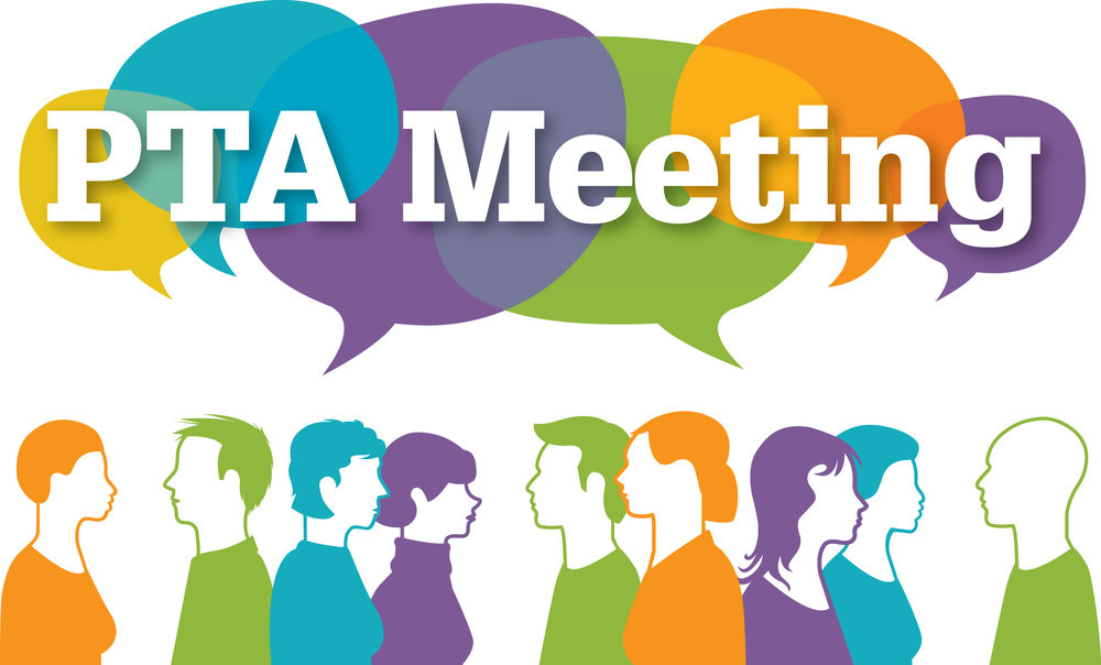 """Generic graphic of parents with a group think bubble above their heads that reads """"PTA Meeting"""""""