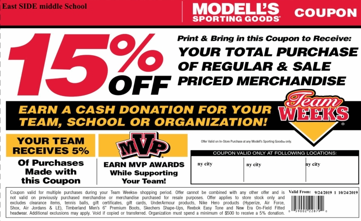 Clickable Modell's Coupon - 15% off entire purchase.  Sept 24 - Oct 24, 2019