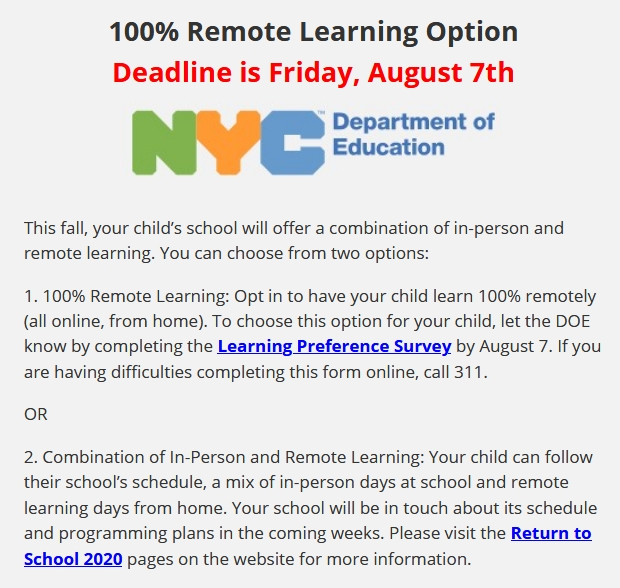 Thumbnail image of a DOE bulletin about Remote Learning 2020