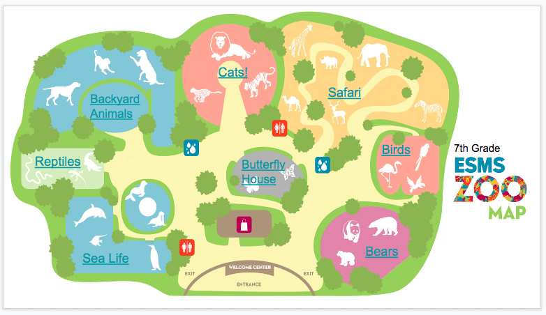 A  drawing of a zoo map