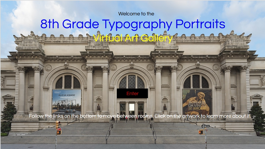 """Image of """"The Met"""" with the caption, 8th Grade Typography Portraits"""