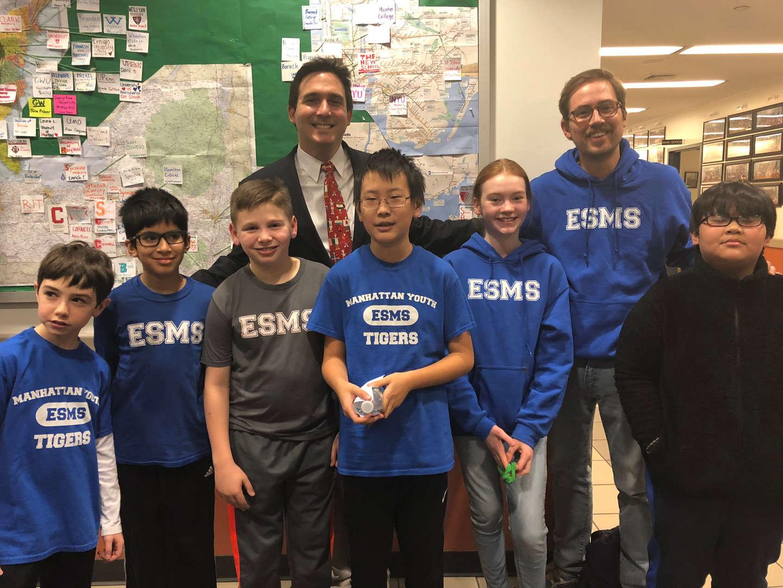 ESMS Chess Team with NYC Councilman, Ben Kallos
