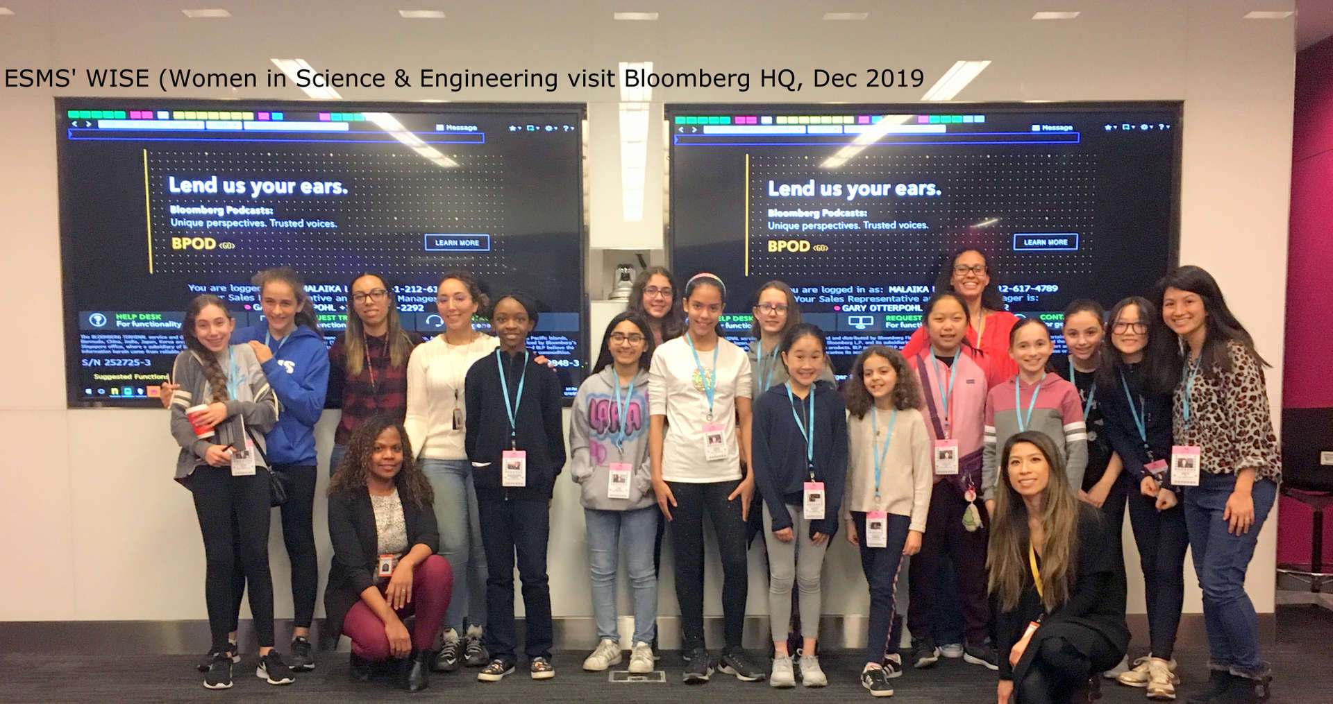 Photo of our Women in Science and Enginering Club visiting Bloomberg HQ in December 2019