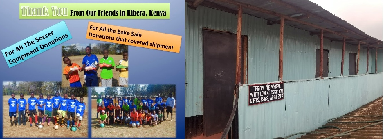Combined photos  of ESMS' sister school in Kenya - photo of students and their school building