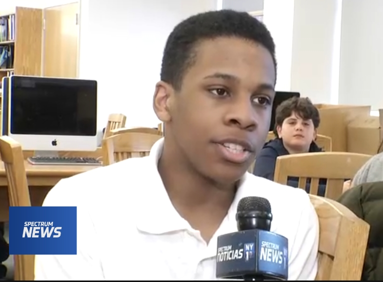 Student during NY1 story about ESMS
