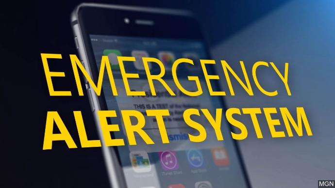 "Generic graphic of a cell phone with text that says ""Emergency Alert System"""