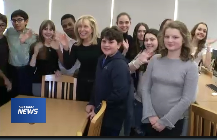 Students during NY1 story about ESMS