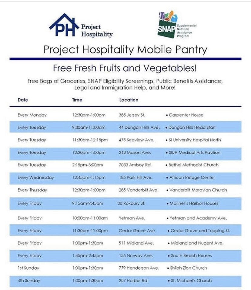 Schedule for Mobile Pantry