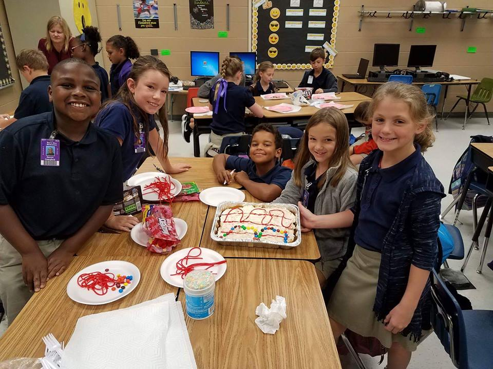 Mrs. Loupe's Class making edible sound waves