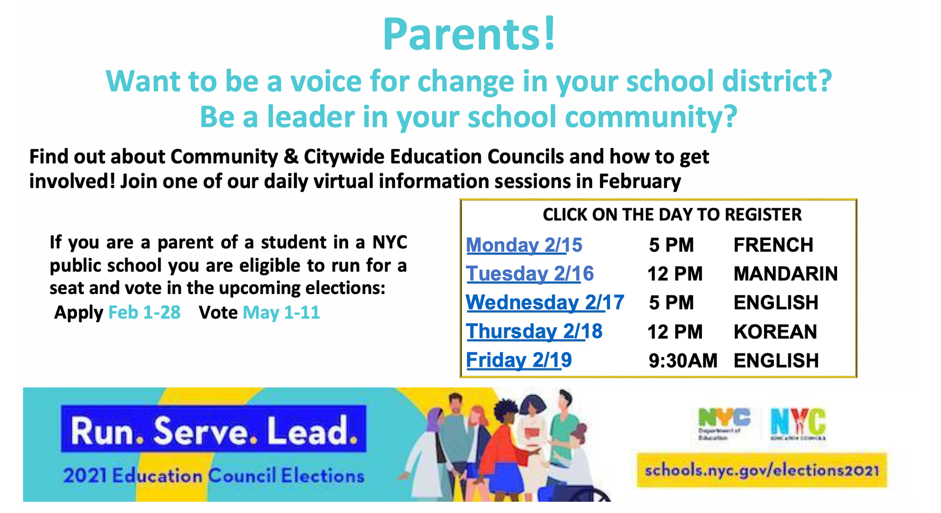 Flyer with information about the Community and Citywide Education Councils