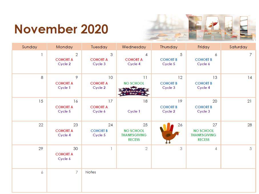 November 2020 Cohort Calendar