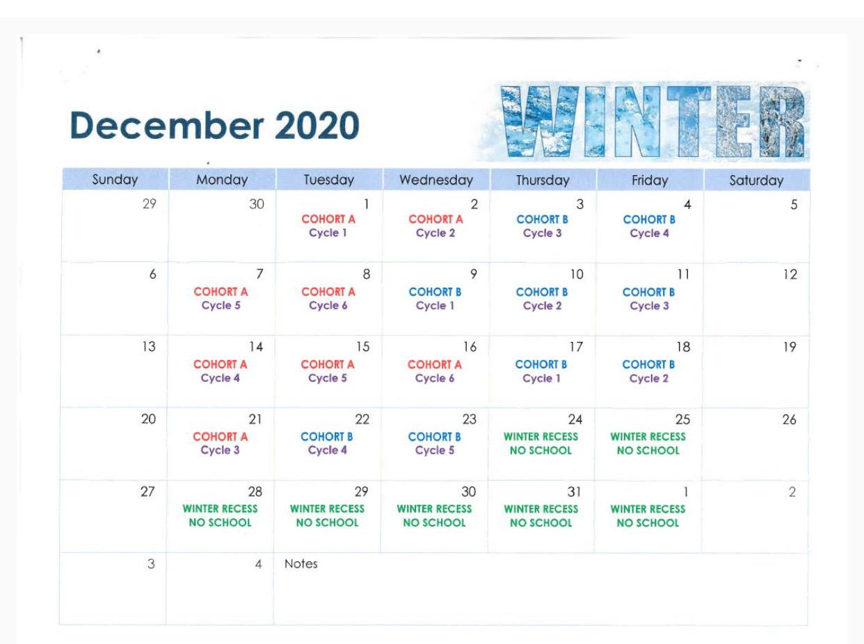 December Cohort Calendar