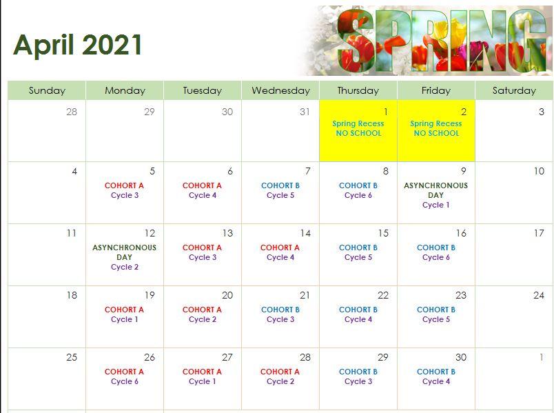April 2021 Cohort Calendar