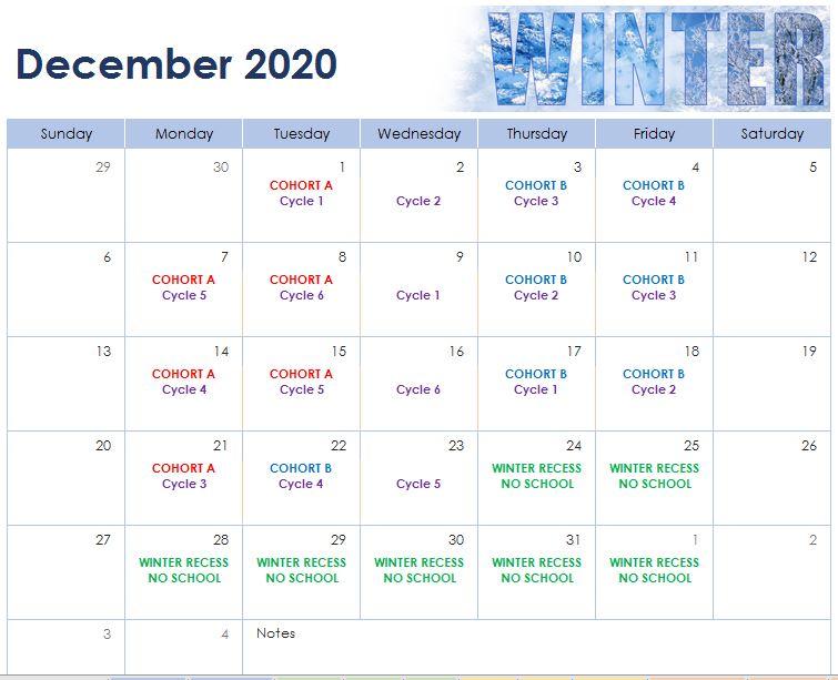 December 2020 Cohort Calendar