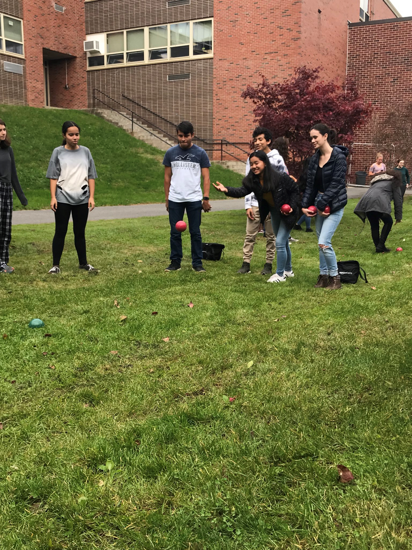 Italian-American Club teaches French and Spanish clubs how to play Bocce
