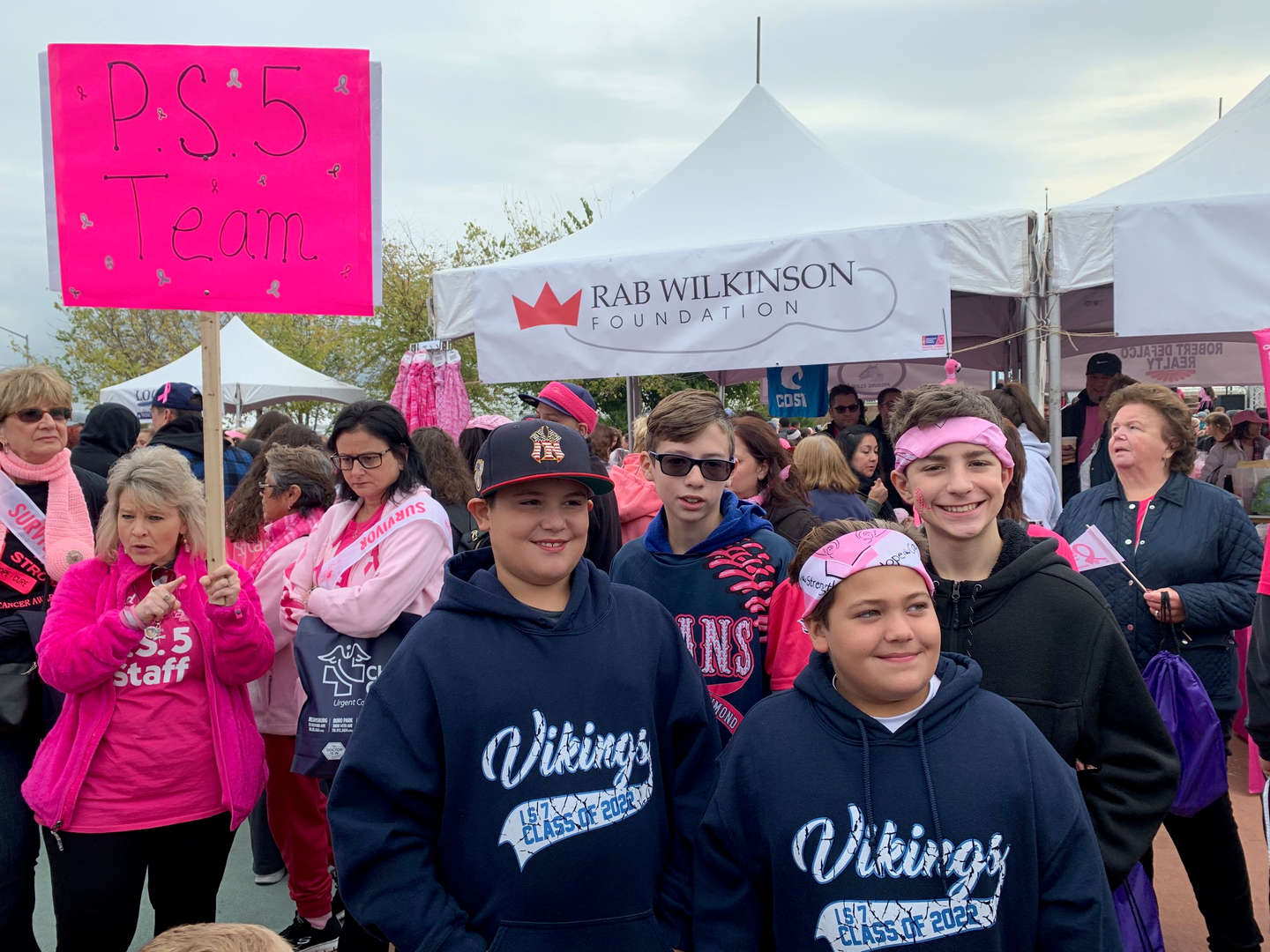 Parents at breast cancer walk
