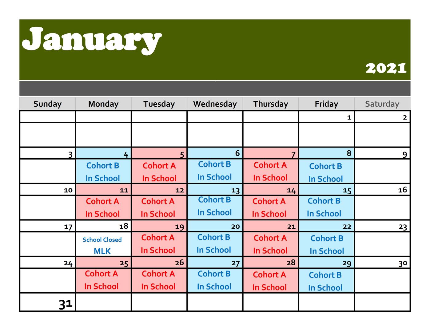 January 2021 Cohort Schedule