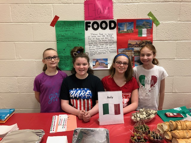 Students representing food from Italy