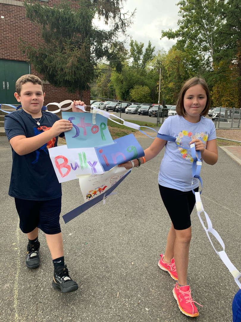 Stop Bullying poster chain by two students