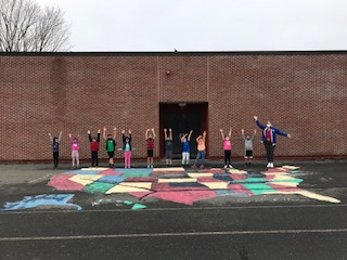 2nd Graders finish up Geography unit on our blacktop map of the United States
