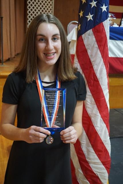 Kiera Yarrow, District 19 Patriot's Pen essay contest winner