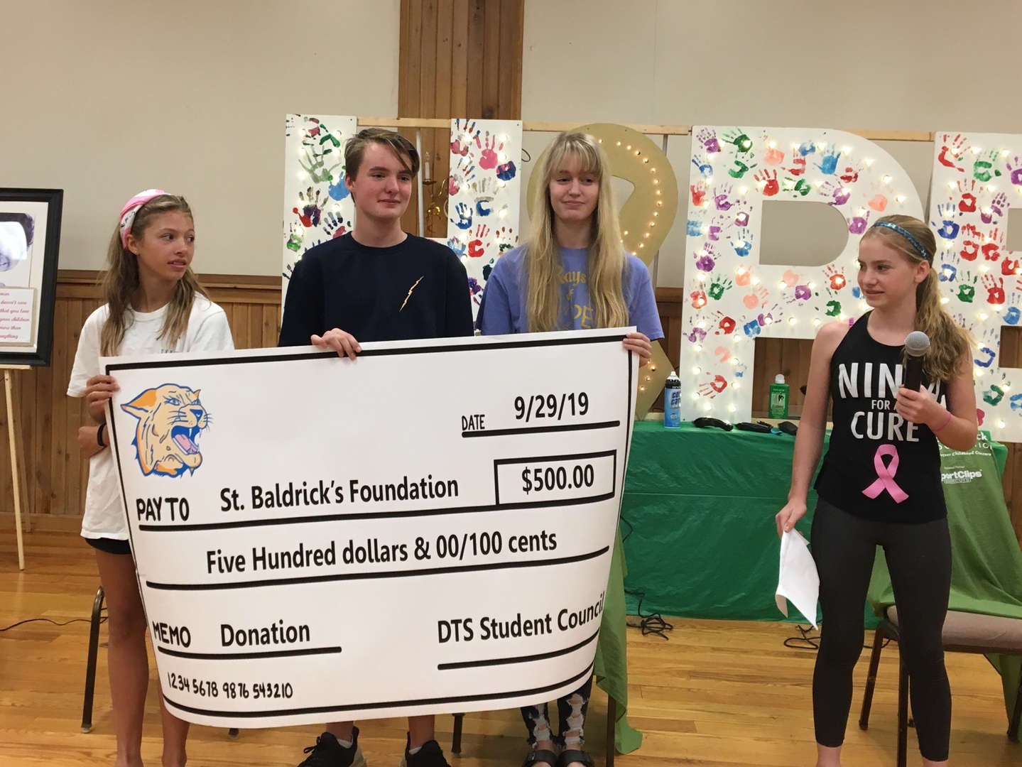 DTS Student Council donation to St. Baldrick's