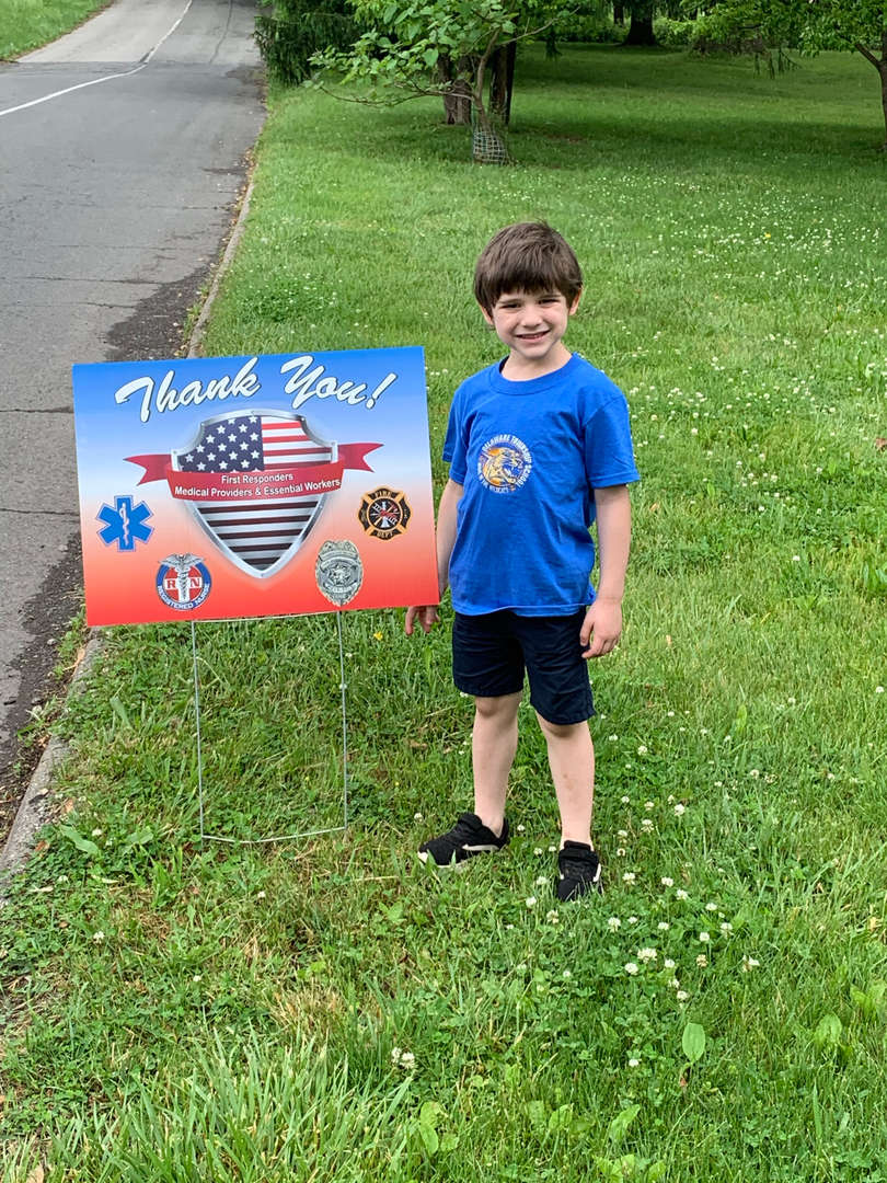 Thank you sign, Tyler Vecchione, Mrs. Weiss' Class