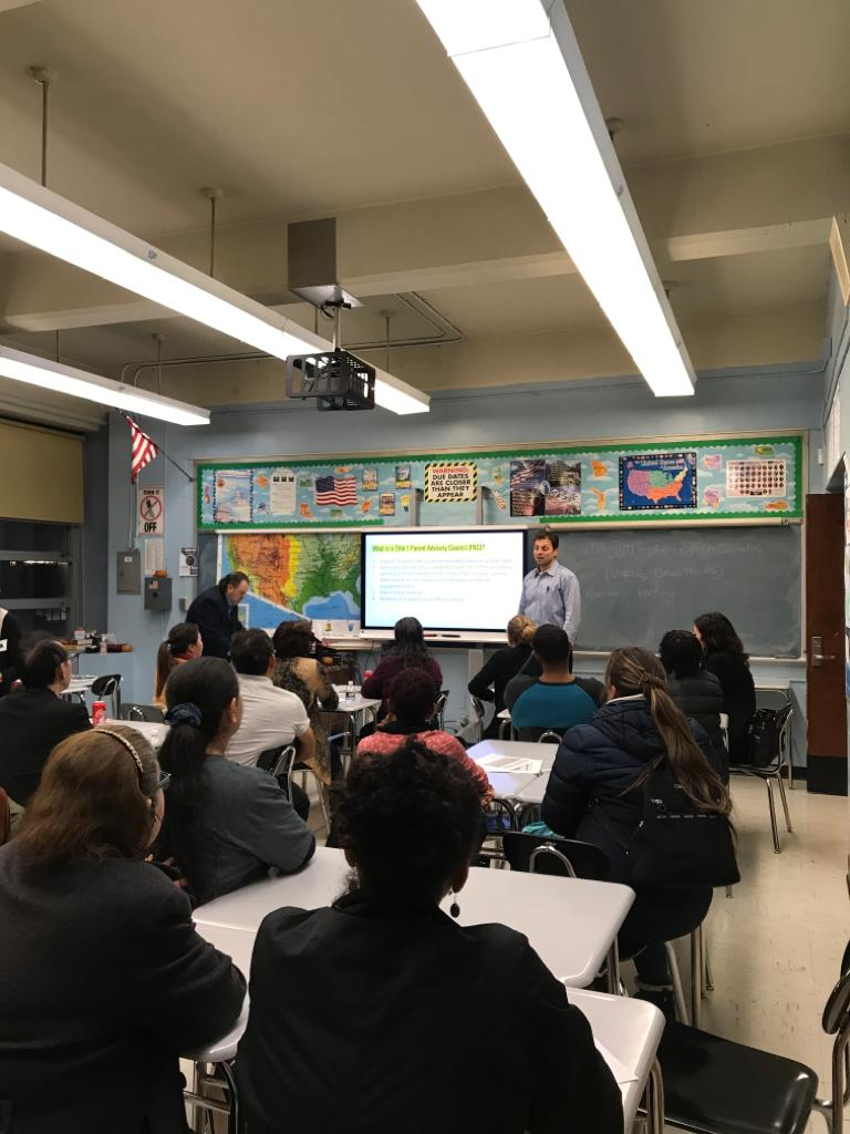 Our SPARK Counselor and our AP of Guidance and Pupil Personnel speaking to a group of Parents in November of 2019
