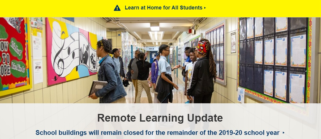Image of students in a school hallway that was originally posted on schools.nyc.gov (DOE website)