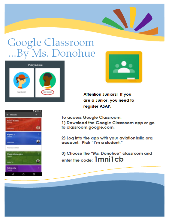 Flyer for Ms. Donohue's Google Classroom page.