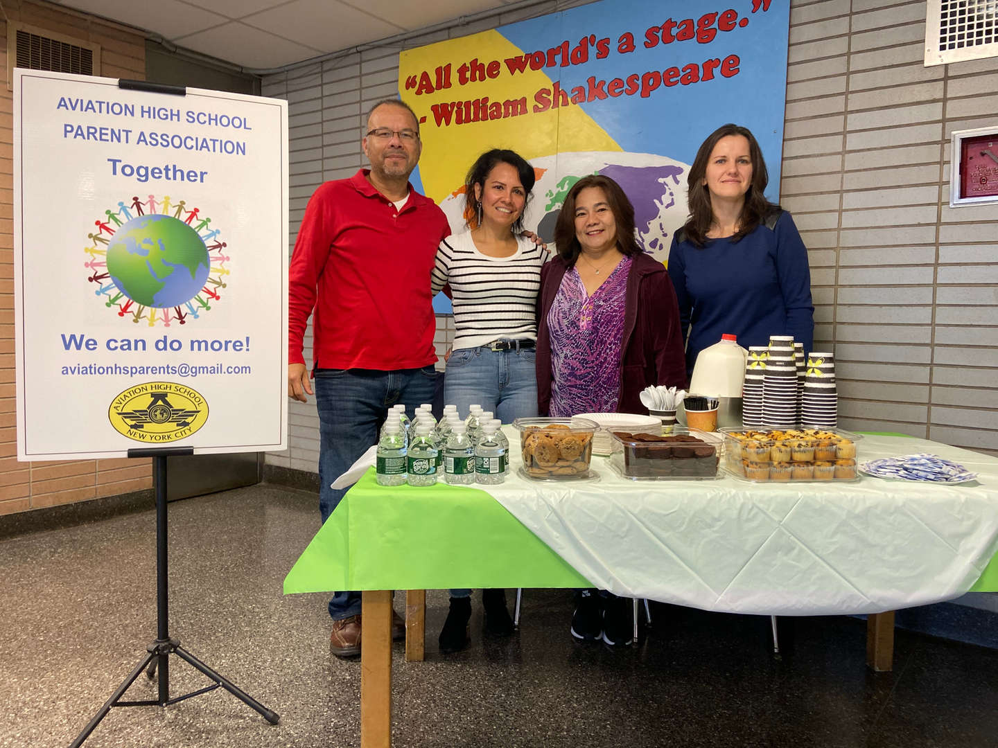 Our PA executive board members came out to volunteer for our Open House on Saturday, October 19, 2019. They provided our prospective families with Coffee and Treats and valuable insight, on what it means to be a Parent of a student at Aviation High School.
