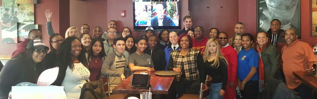 Parents, students, staff and School Safety Agents attend the Parents' Association  December 3, 2016 Apple Bee's Breakfast Fundraiser.