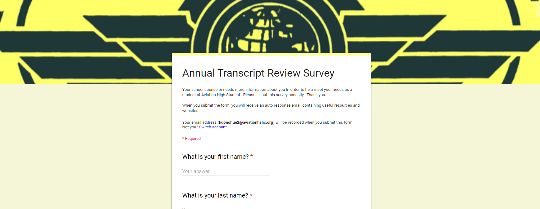 Image of a Transcript Review Google Survey.