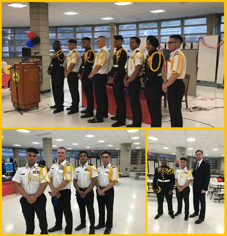 Three picture collage with Color Guard Drill Team students