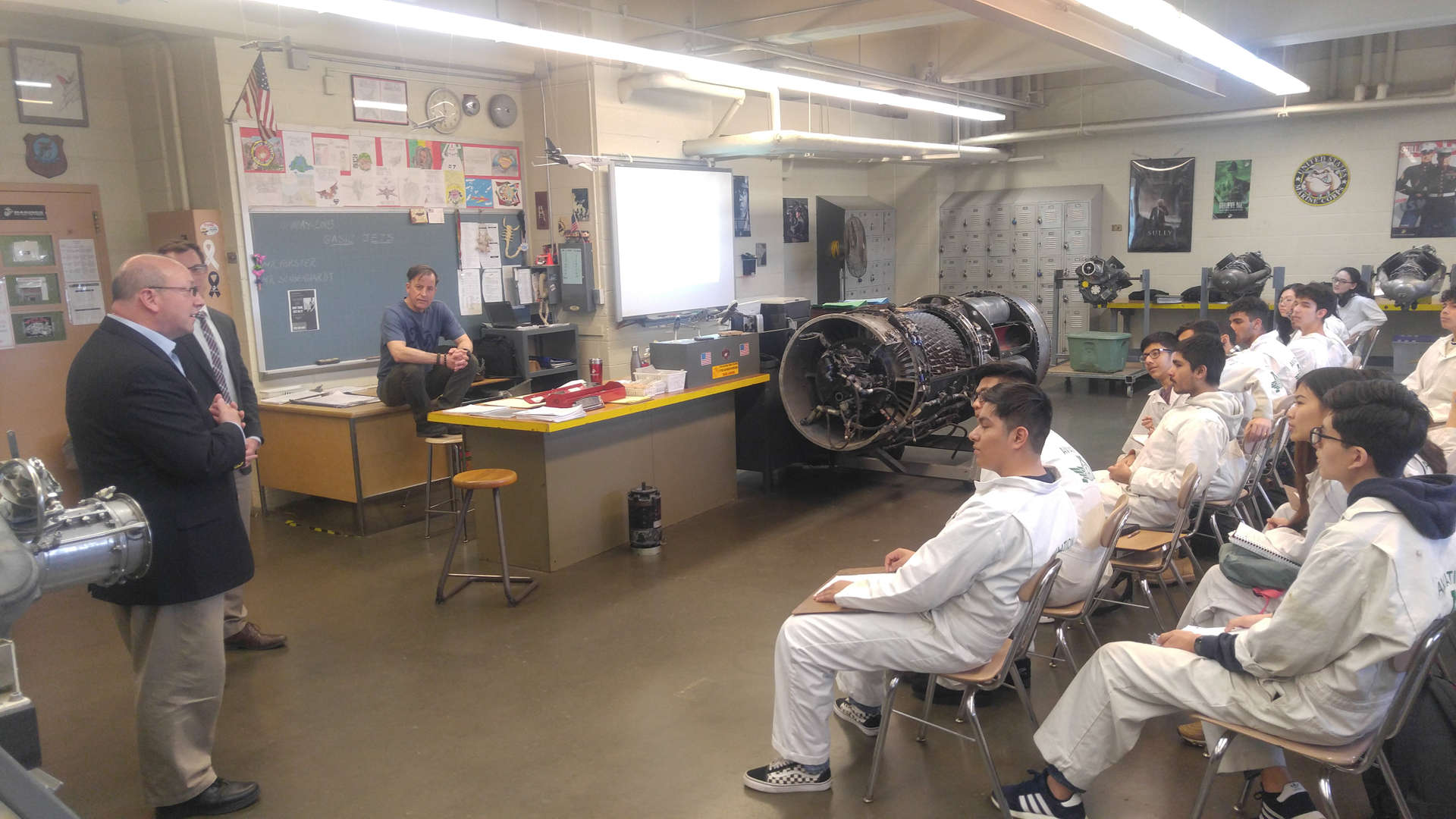 Representative from Cirrus Aircraft visiting Aviation High School