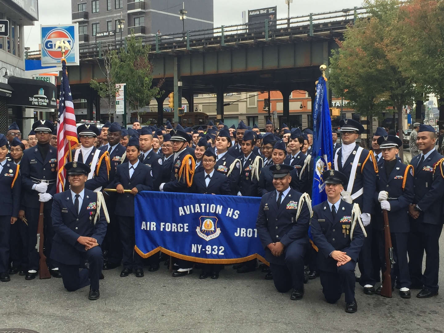 Aviation High School's AFJROTC unit at Astoria's October 8, 2016 Columbus Day Parade.