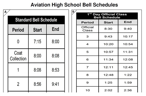 Screenshot image of school's bell schedule.