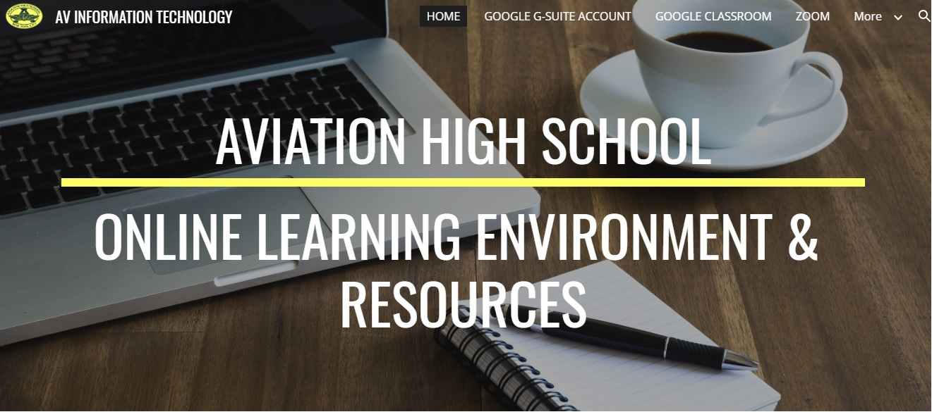 Image of Aviation High School's online resources pages for parents, students and staff.