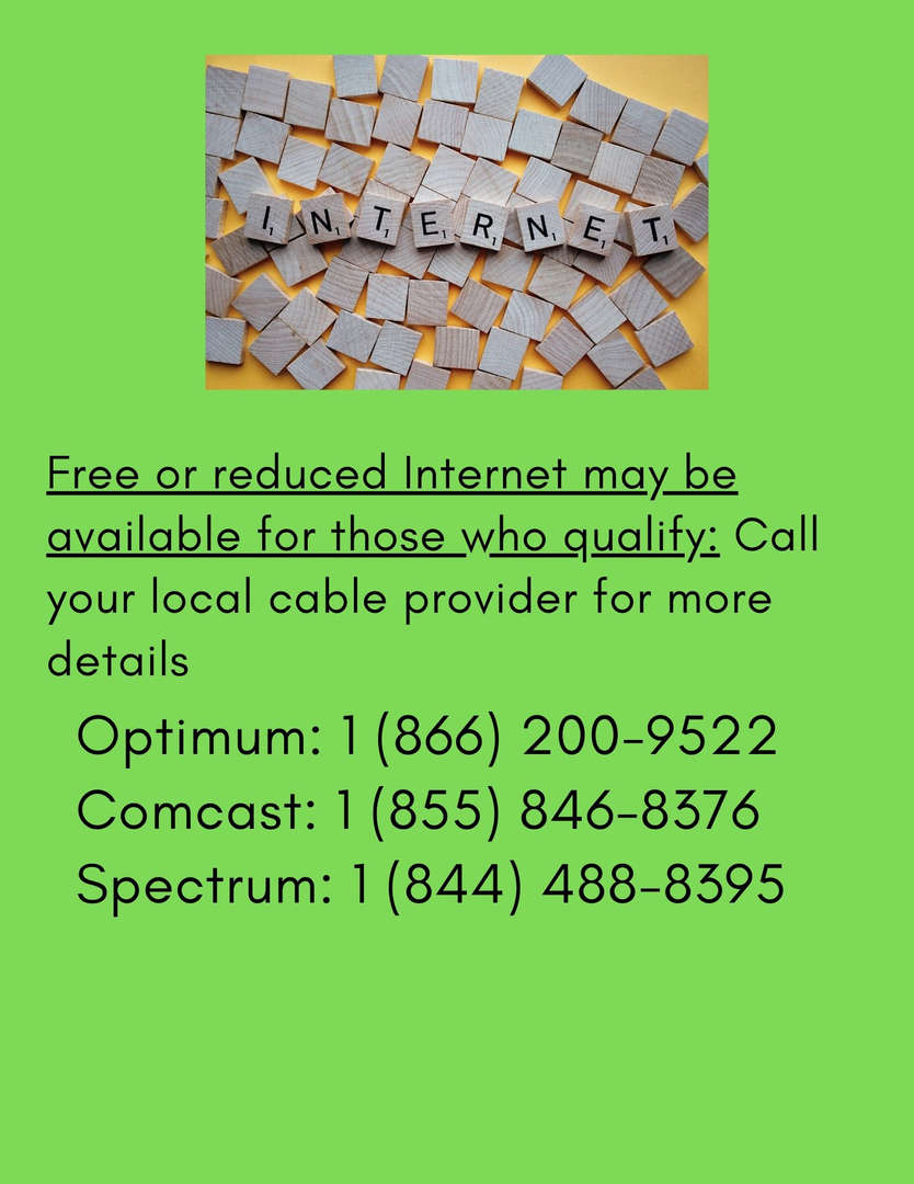 Flyer about free or reduced internet services for families.