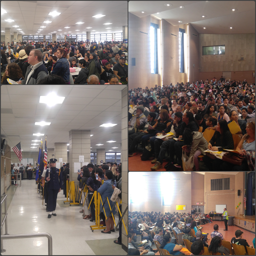 Collage of parents and students in cafeteria and auditorium