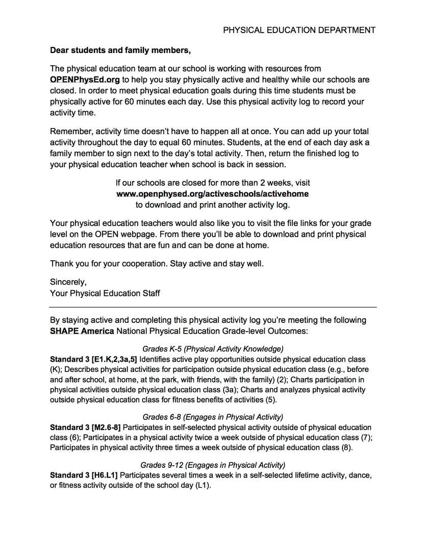 Physical Education letter to parents