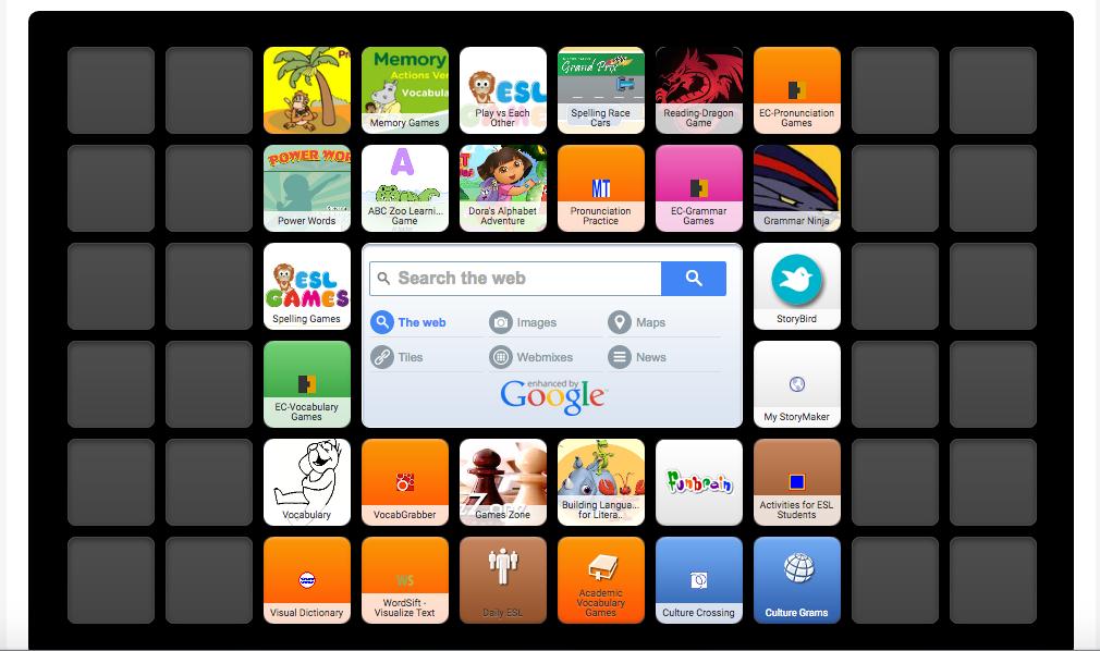 screenshot of symbaloo icon for english language learners