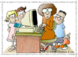 computer teacher with three students at her desk